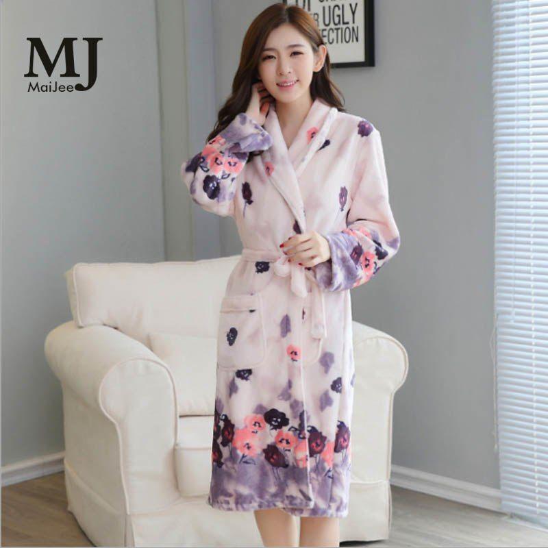 afb2ef42ba Thickening Flannel Winter Robe Sexy Robes For Women Bathrobe Dressing Gowns  For Women Bathrobes Peignoir Femme Soie Albornoz