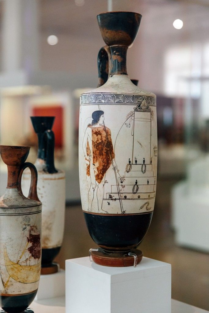 Attic White Ground Lekythos Oil Vase Narrow Neck And A Vertical Grip Picture Of A Visit To A Funerary Monume Ancient Greek Pottery Archaeology Greek Pottery