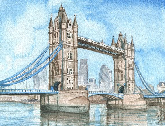 London Bridge In Watercolor Original Watercolor Painting London By