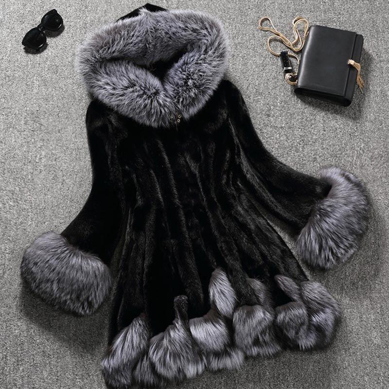 d8ef0bb5603 faux fur coat women white gray with fur hat fur jacket mink luxury women  long coat Imitation fur jacket women coat plus size 8XL