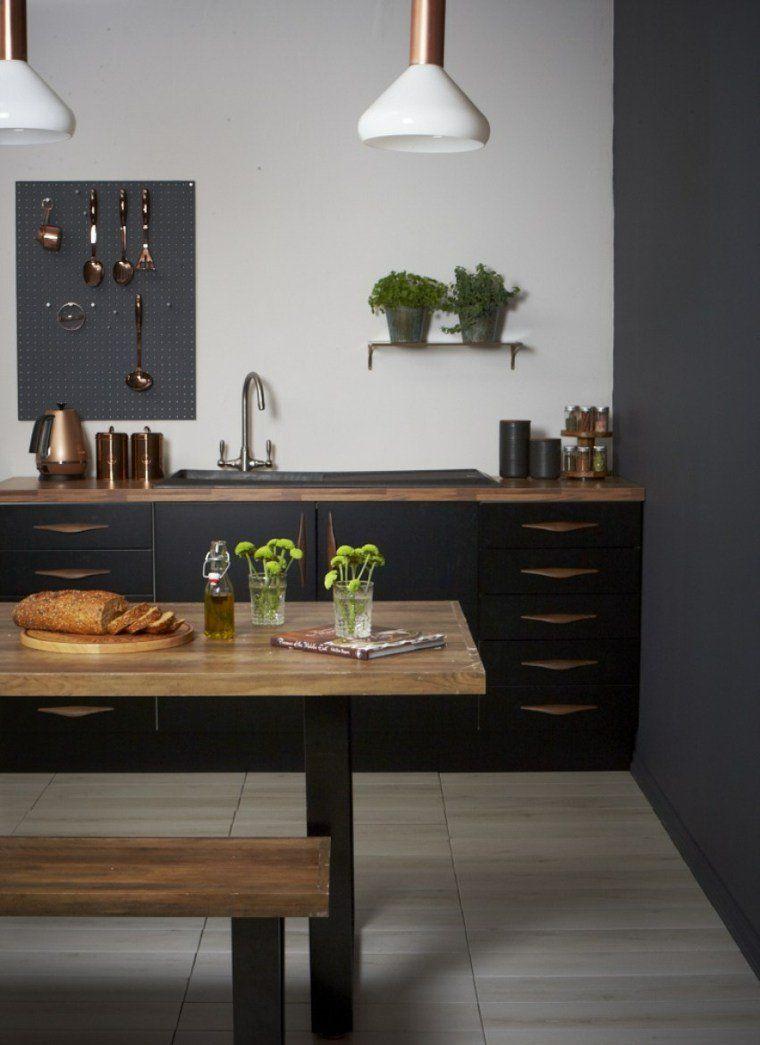 Cuisine noire et bois - un espace moderne et intrigant  Diseño de