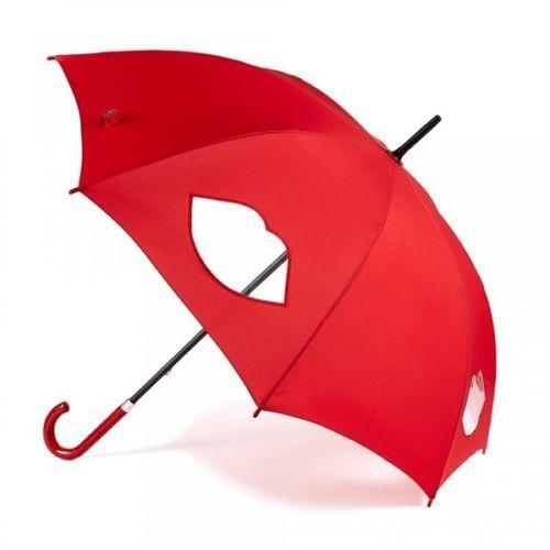 Lulu Guinness Red Cut Out Lips Kensington Walking Umbrella