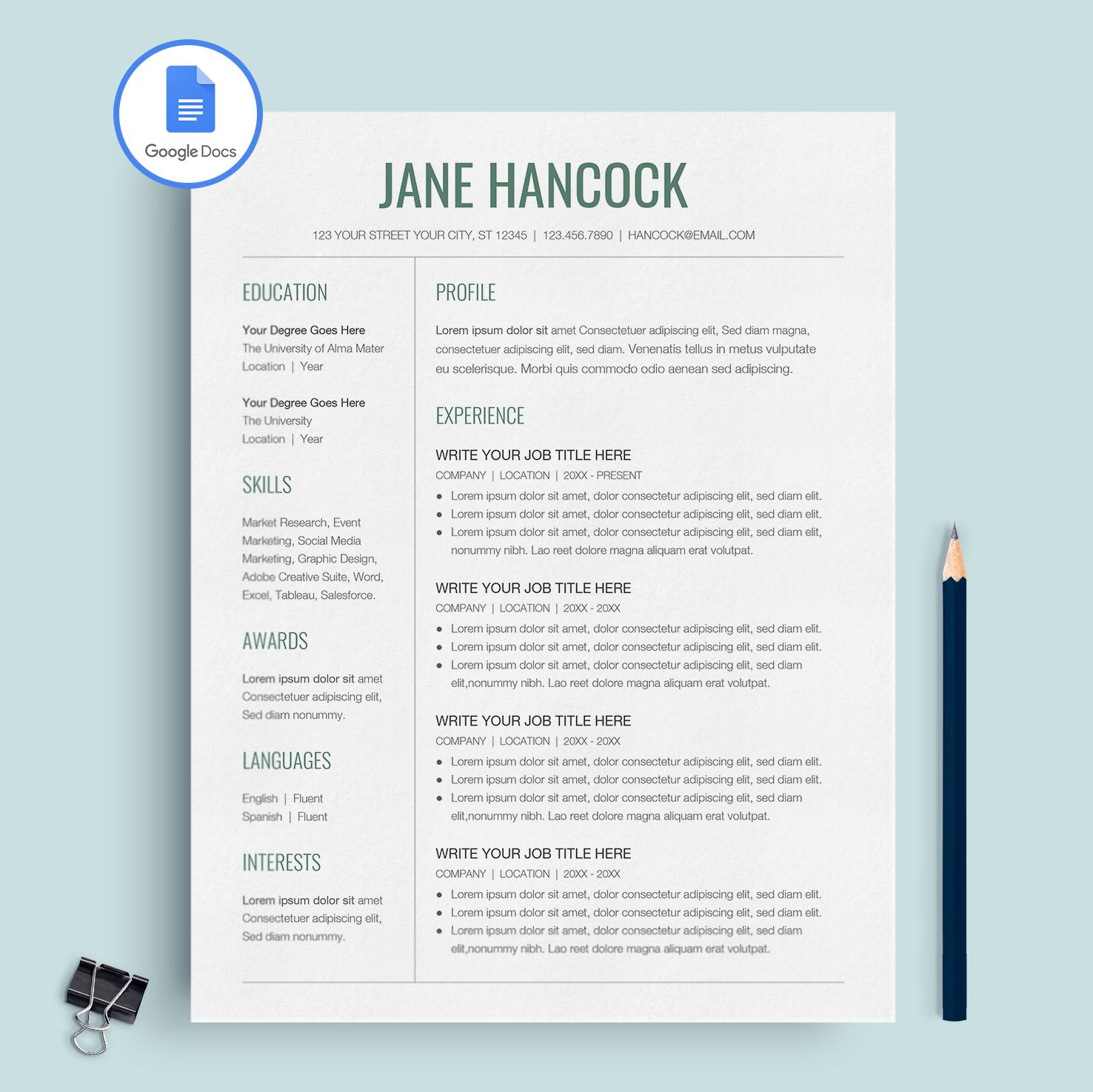 Jane Hancock Google Docs Resume Template CV Template