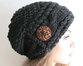 Slouchy Beanie Slouch Cable Hats Oversized Baggy Beret Button