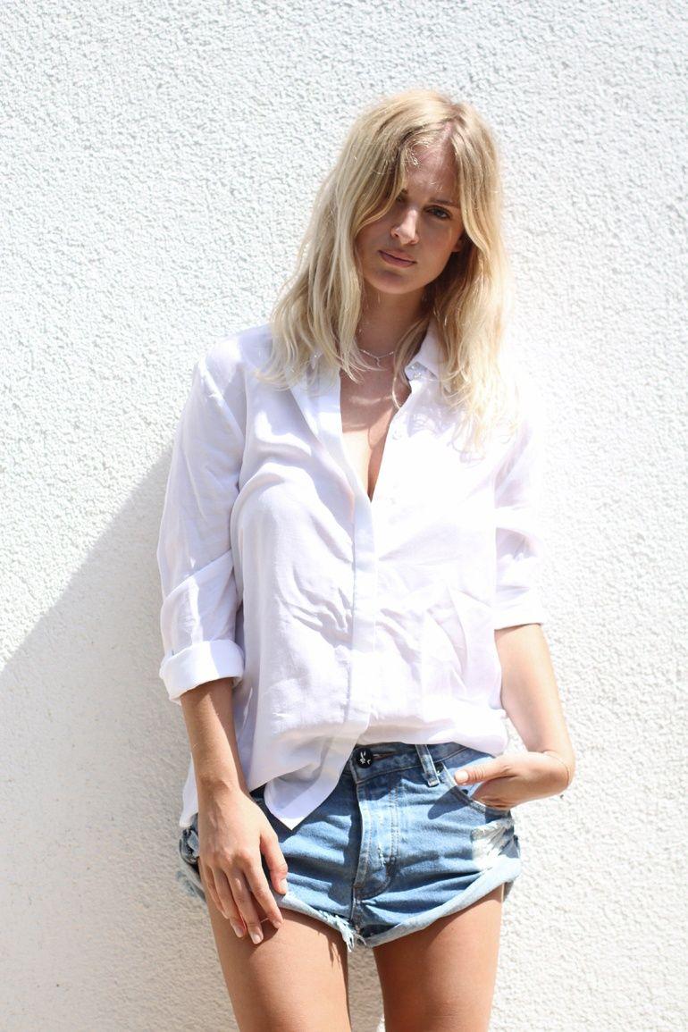 White button down & jean shorts