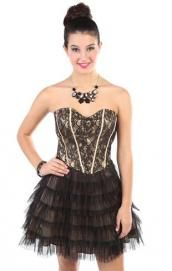 black lace corset strapless short party dress with multi