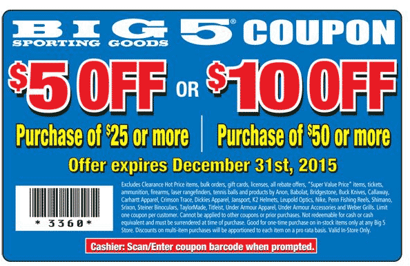 photograph about Big 5 Sporting Goods Printable Coupon called Pinned November 24th: $5 off $25 excess at Huge 5 carrying