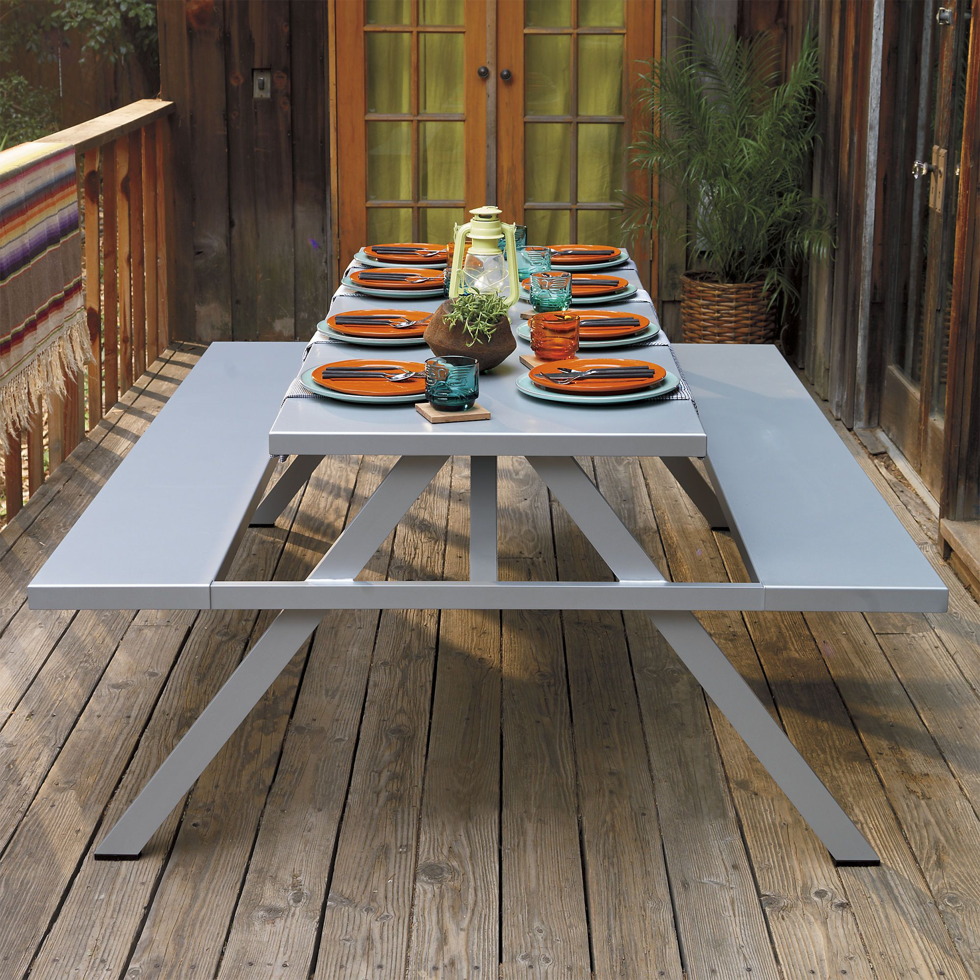Outstanding A Frame Picnic Table In Dining Tables Cb2 Metal Picnic Customarchery Wood Chair Design Ideas Customarcherynet