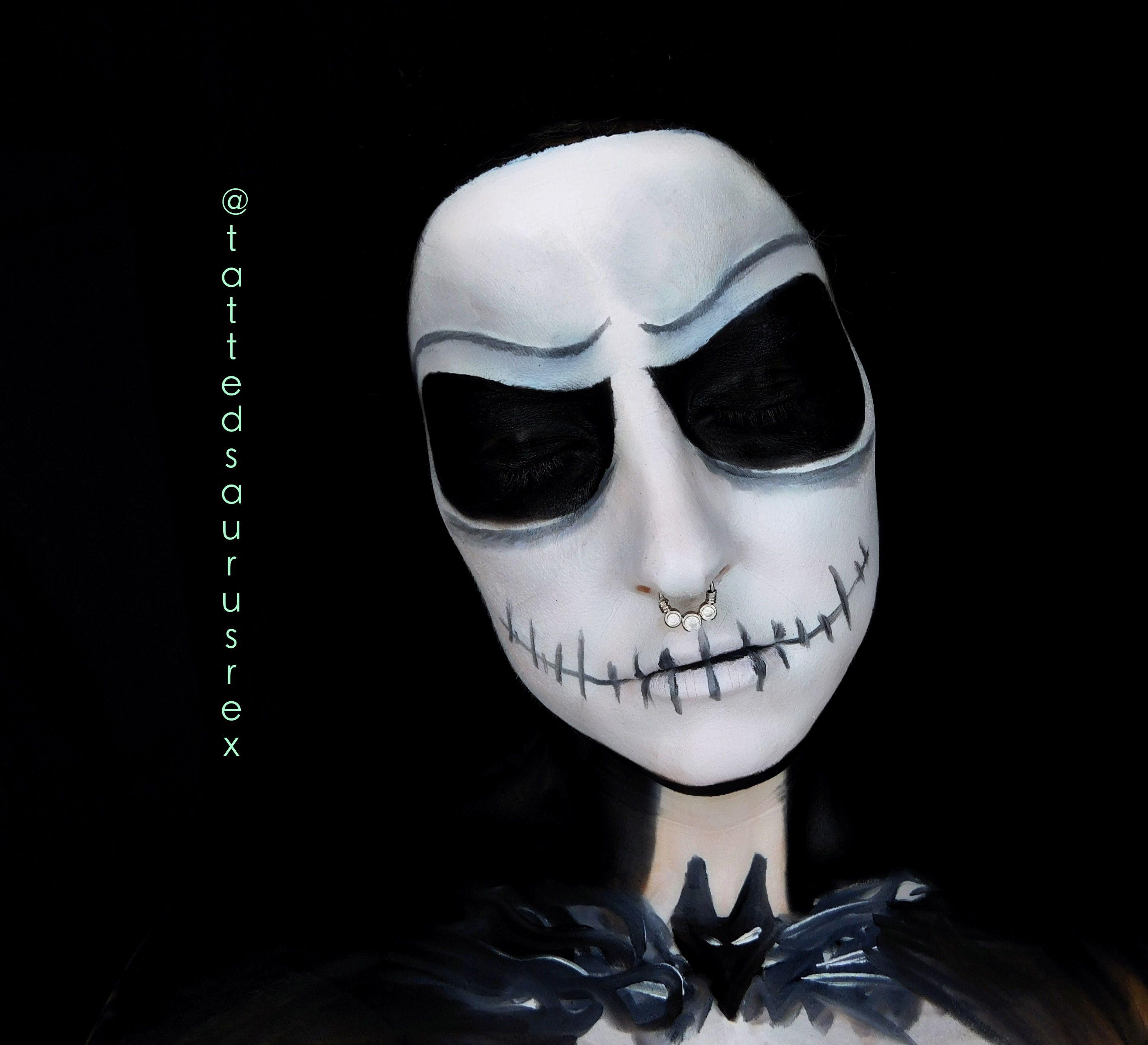 Jack Skellington makeup. ️ ️ Face paint. Xmas. Xmas makeup