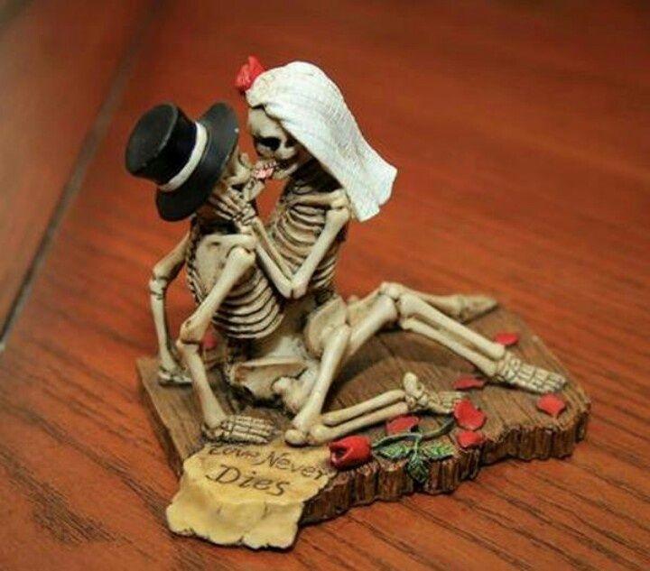 Love Never Dies Cake Toppers Skull Love Love Never
