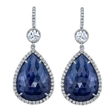 Spectacular Blue Sapphire and Diamond Platinum Drop Earrings