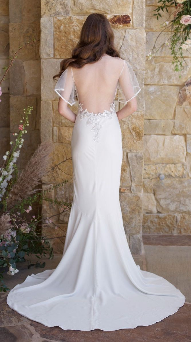 Merlot gown by claire pettibone elegant crepe mermaid sheath with