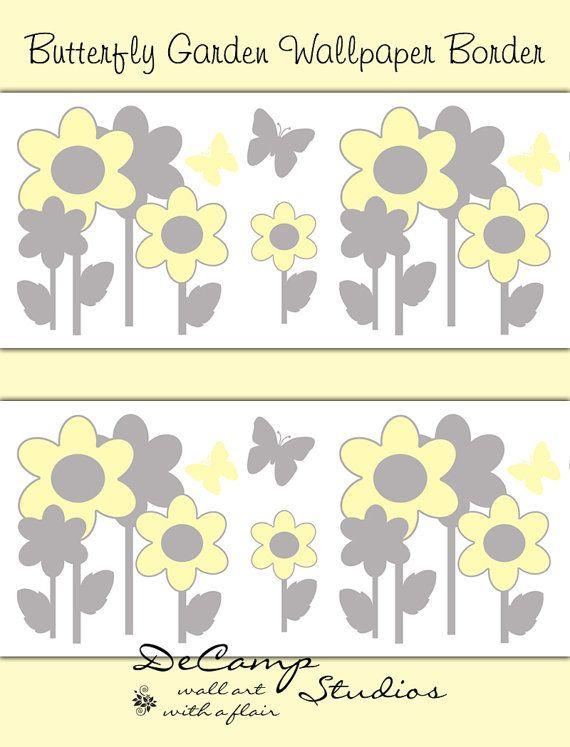 Yellow and Grey Butterfly Flower Garden wallpaper border wall art ...