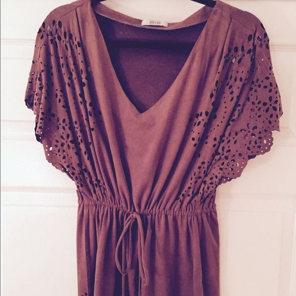 Brown Faux suede top Brown faux suede top with cut out detail and defined waist. Tops