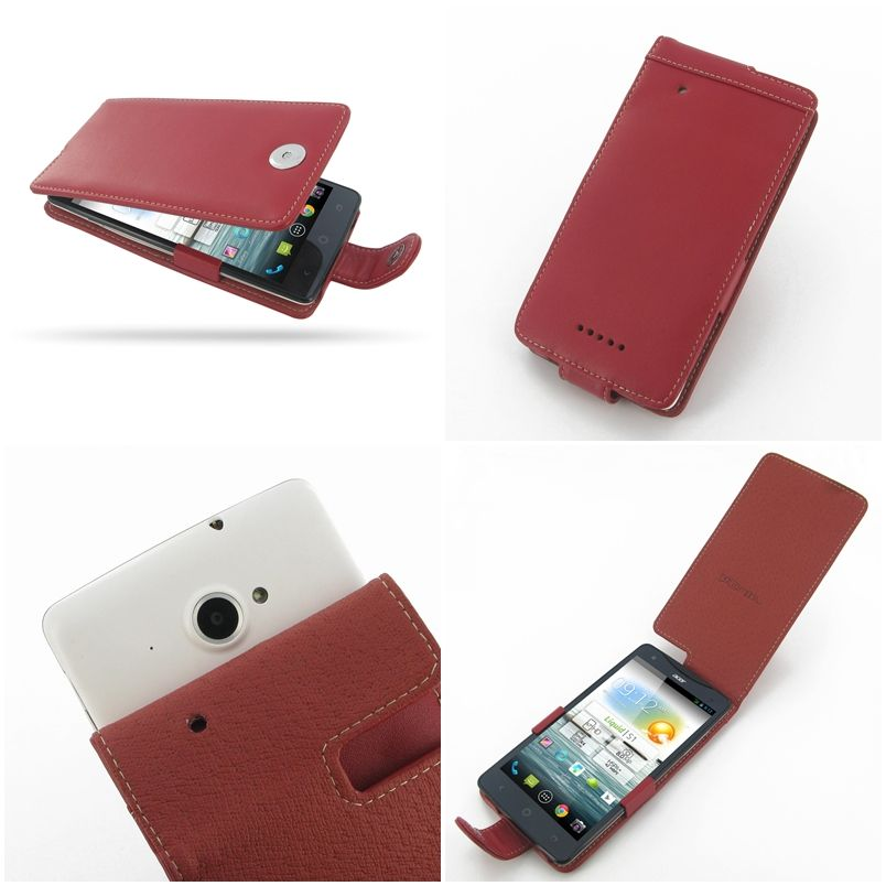 Pdair leather case for acer liquid s1 s510 flip type