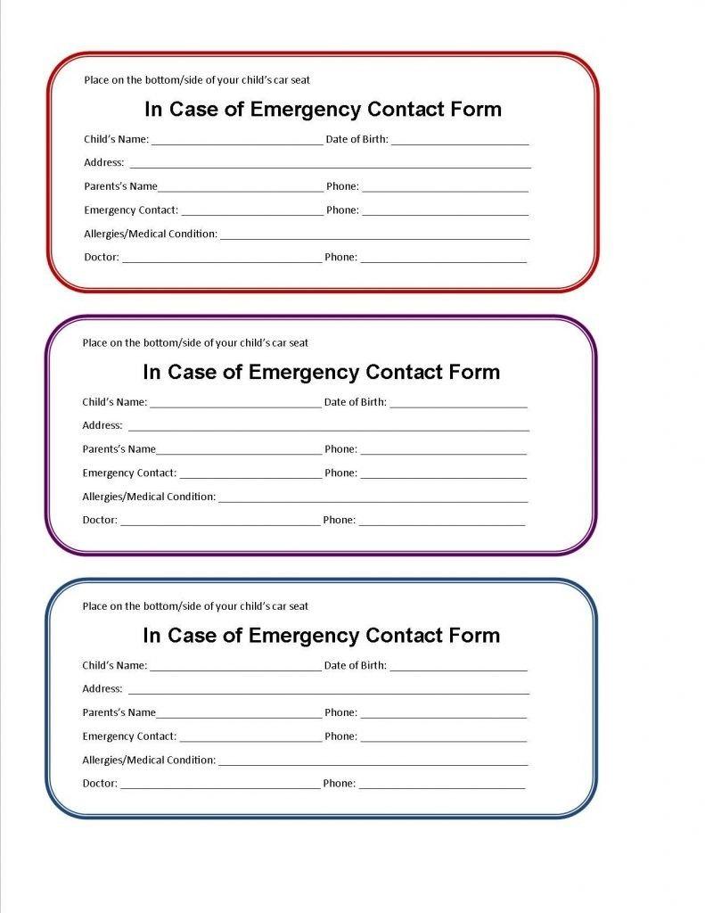 21 Emergency Card Template General Printable Emergency Card