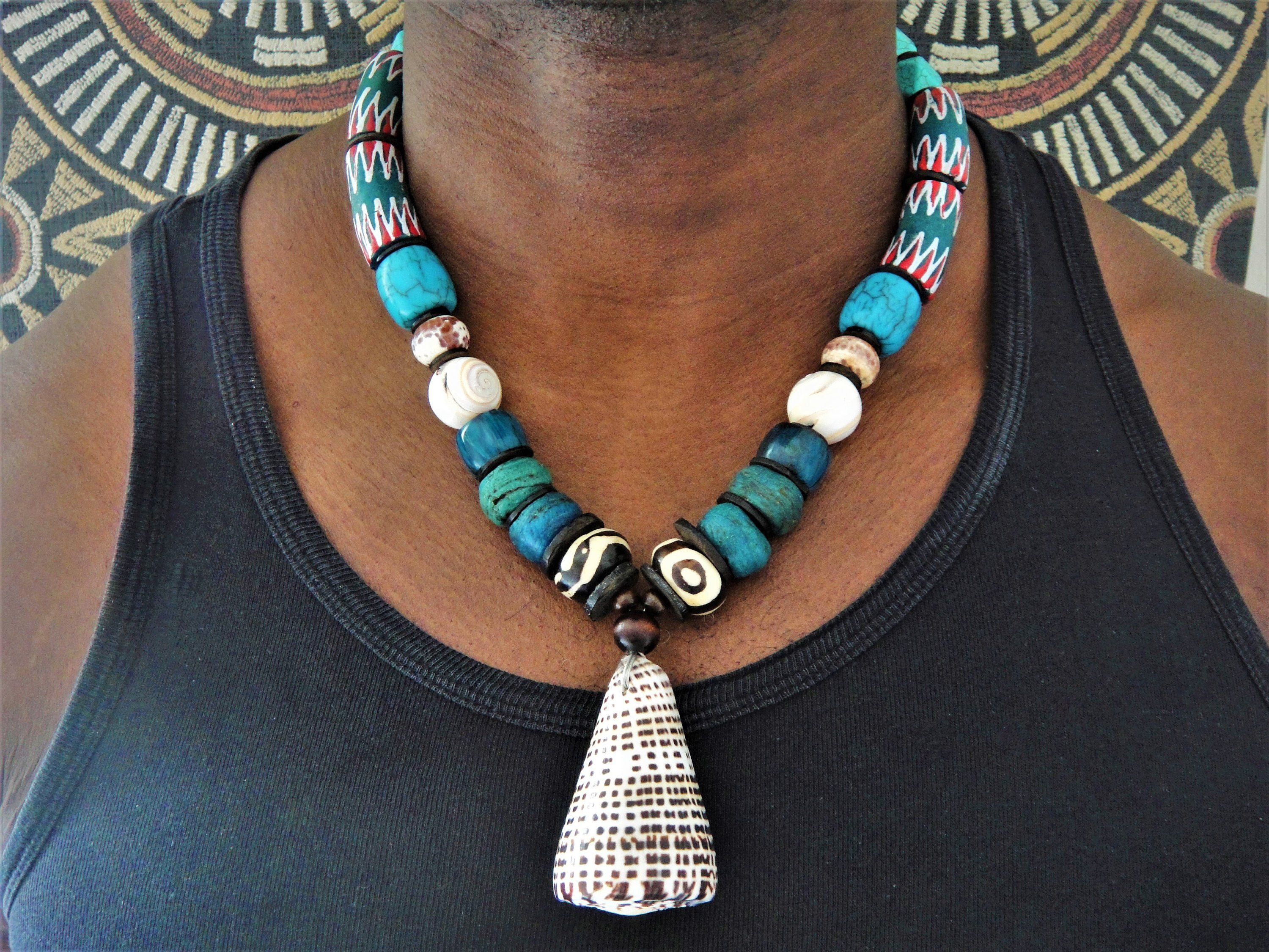 Batik Bone Hebron Kano Beads Chunky Necklace Mens Trade Beads Choker Mens Ethnic Necklace Tribal Necklace African Jewelry