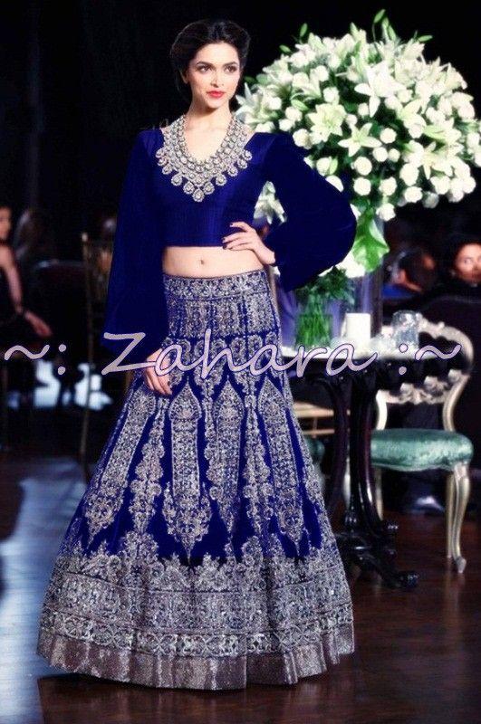 Deepika Padukone Velvet Resham & Zari Work Blue Semi Stitched Bollywood Style Lehenga - T385 at Rs 4365