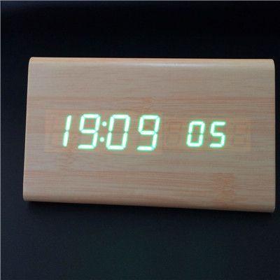 High quality! Trigon sound control Bamboo Alarm LED Clocks Thermometer Wooden LED Calendar with seconds digital clock KI1HUAQ