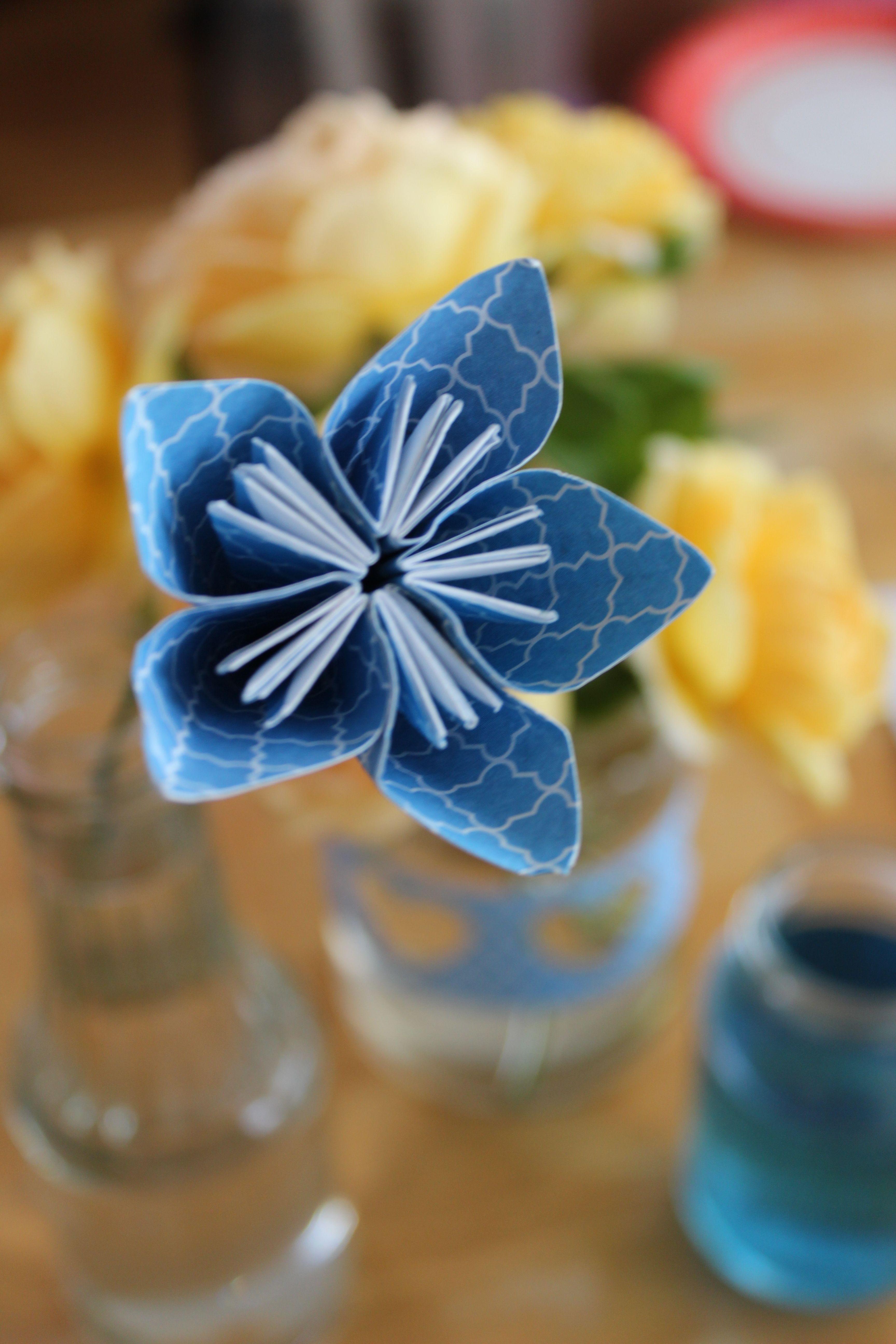 Blue paper origami flower. Blue yellow wedding ideas.
