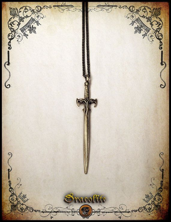 Goth sword pendant medieval for men jewelry dague by Dracolite, $12.00