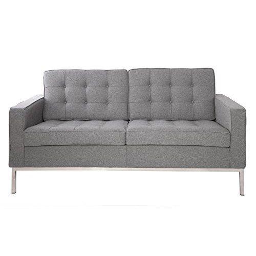 Modern Tufted Linen Splitback Recliner Sleeper Futon Sofa in Beige, Dark Grey, Red (Indigo Blue)