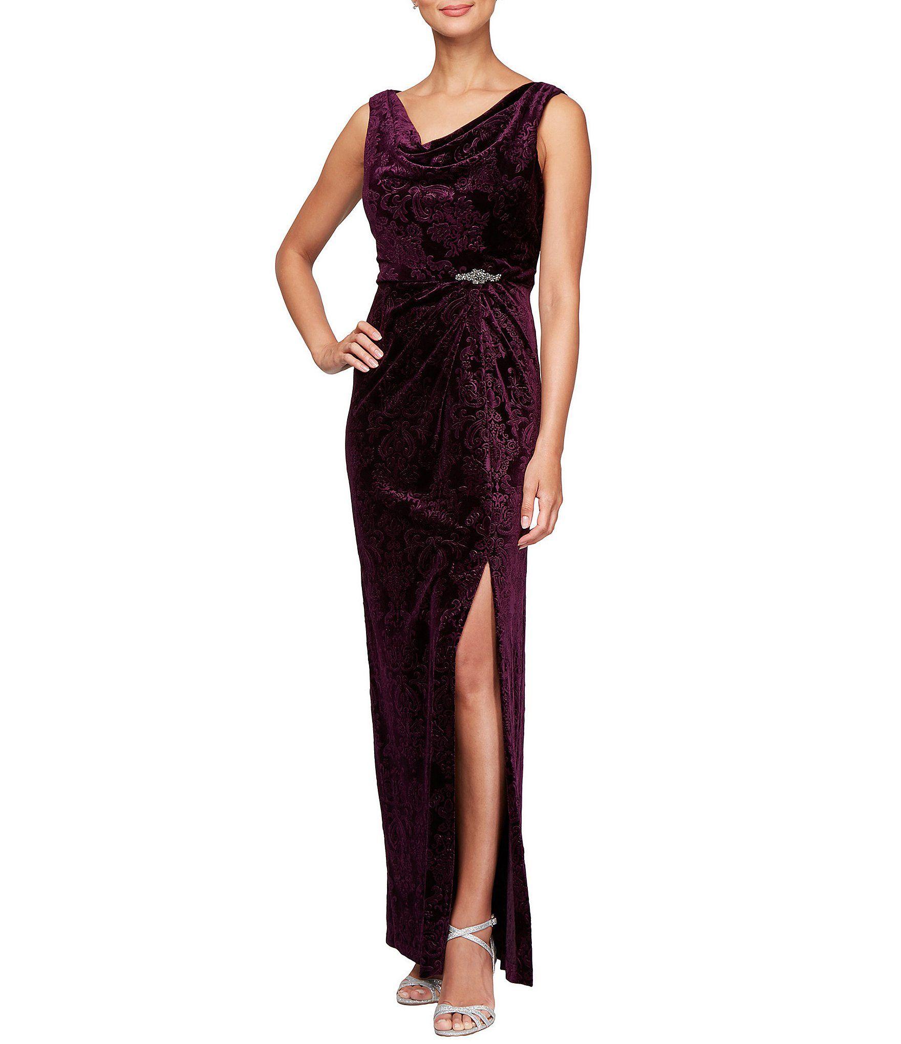706a7be9b283 Alex Evenings Petite Long Embossed Stretch Velvet Dress | Wedding ...