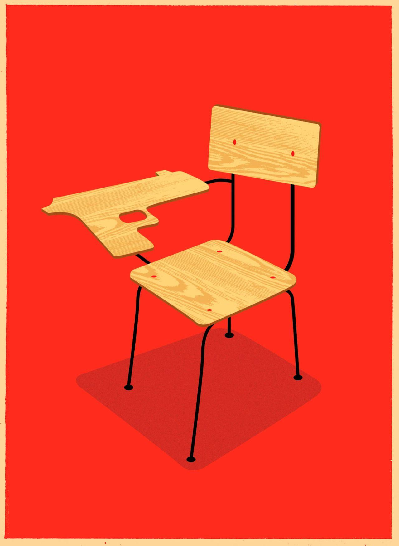 Omunday School Shootings School Illustration Editorial Illustration