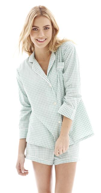 Maya Check Short Pajama Set in Turquoise by Marigot  greenvillesc  lingerie   bras  pajamas efa2c189a