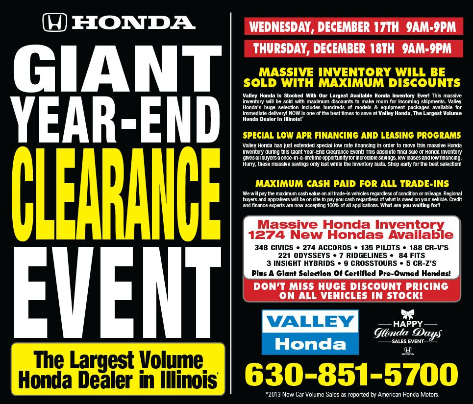 Valley Hondau0027s Giant Year End Clearance Event!