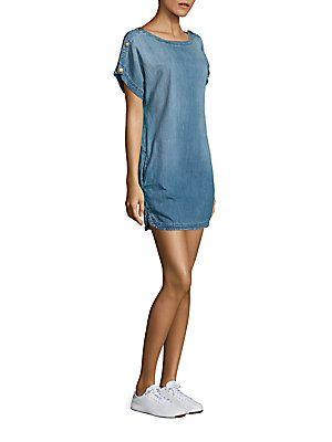 Current/Elliott Shoulder Button Denim Dress