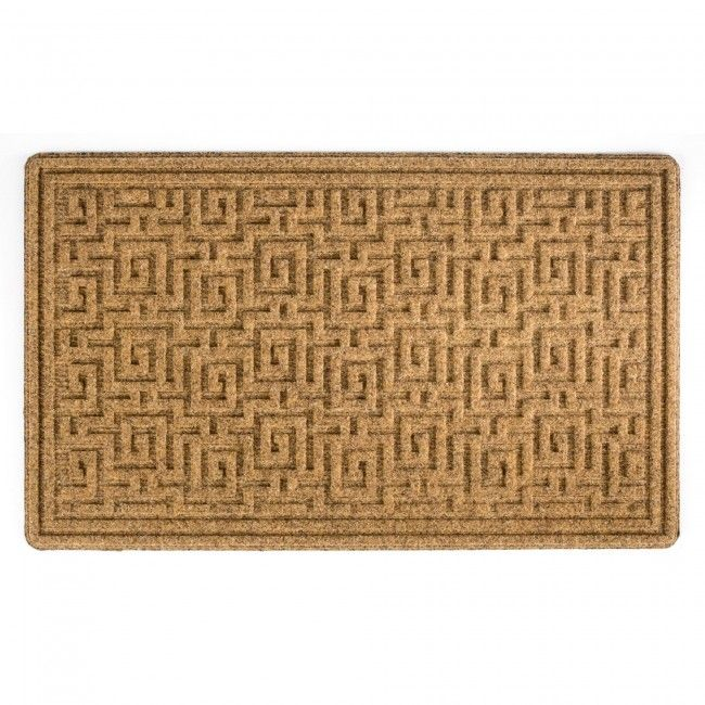 The unique Maze Doormat is an ideal way to accent your home's entrance. This woven 80% polyester and 20% olefin fiber needle-punch mat is more durable than traditional coir.