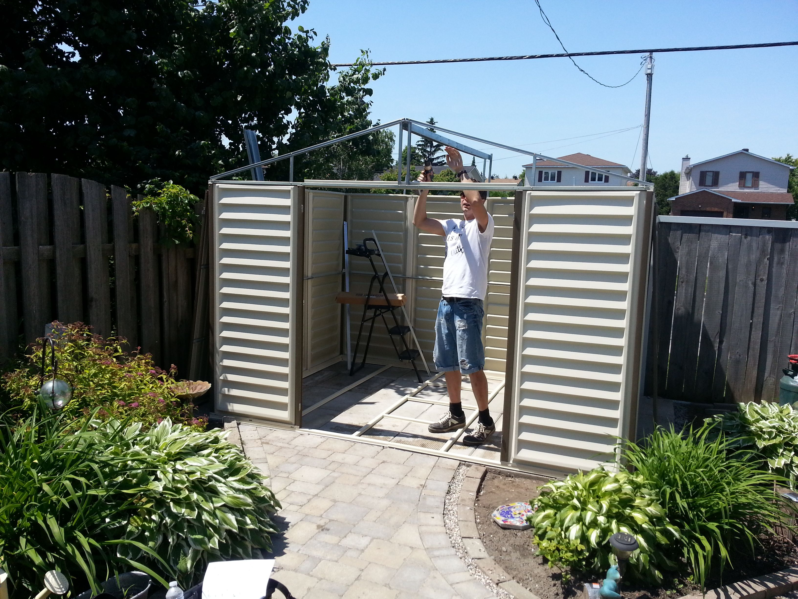 outdoor green in reinforced duty clad storage range heavy she just colours heritage metal well the as and plastic a garden duramax existing shed slate pent buildings upvc grey new sheds roof of arrived have to added apex steel light