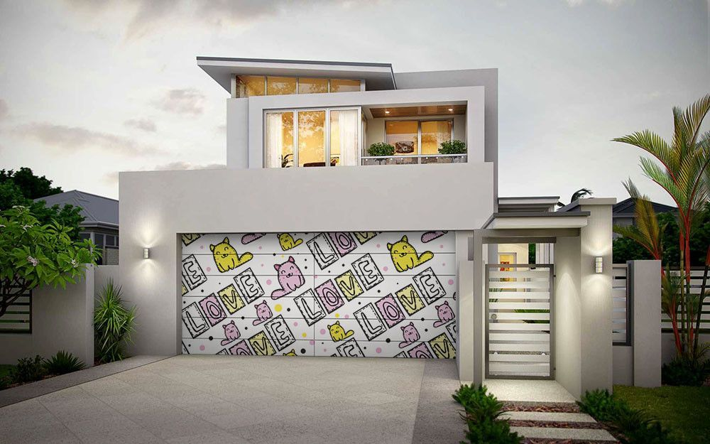 Cute Cat Love House Paint Exterior Garage Door Design Modern
