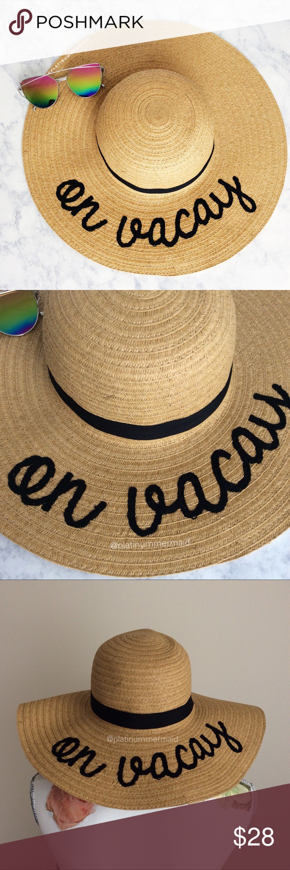 Embroidered Straw Hat NWT Brand new with tags Premium Embroidered On Vacay  Floppy Straw Hat Fashion 488dfa532fbc