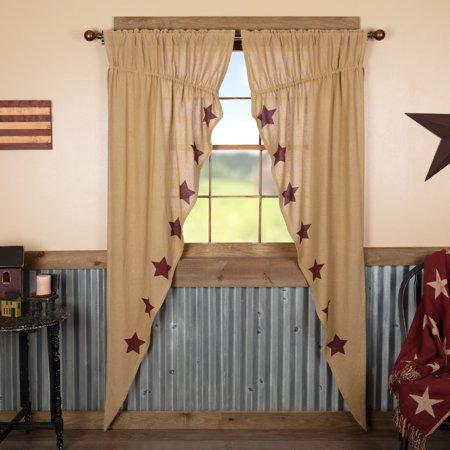 Natural Burgundy Tan Farmhouse Curtains Veranda Burlap Tan Stars