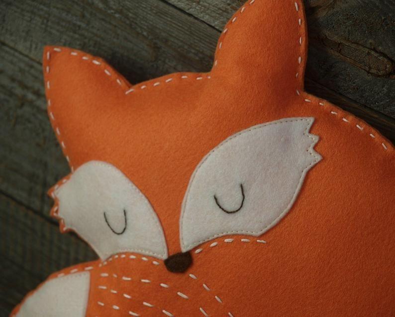 Fox pillow felt - woodland nursery decor/ stuffed animal ornament/ kids room cushion/ plush pillow/ baby girl bedding/ gift