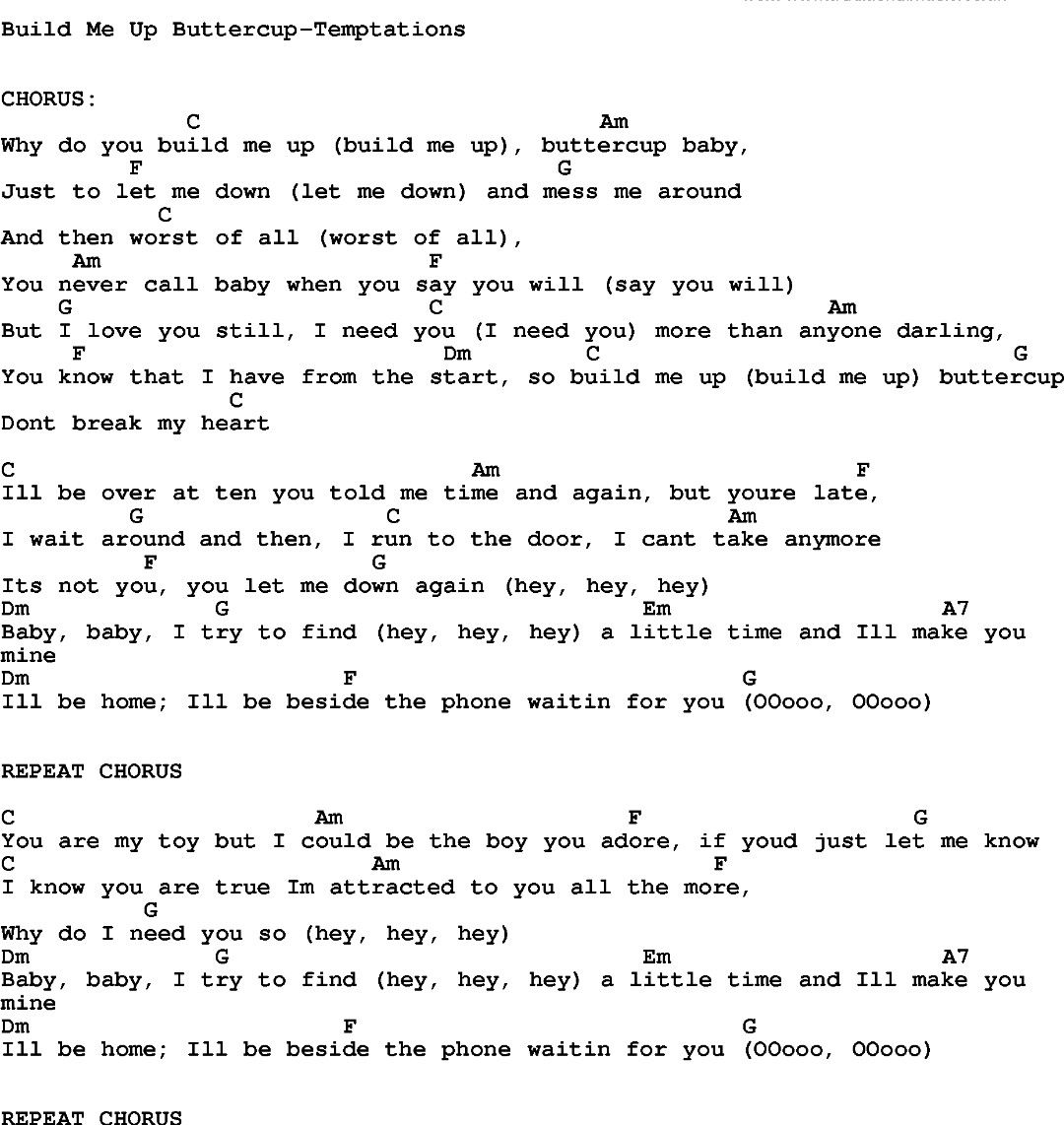 Pin by ashley vance on ukulele pinterest hey jude song build me up buttercup by temptations song lyric for vocal performance plus accompaniment chords for ukulele guitar banjo etc hexwebz Images