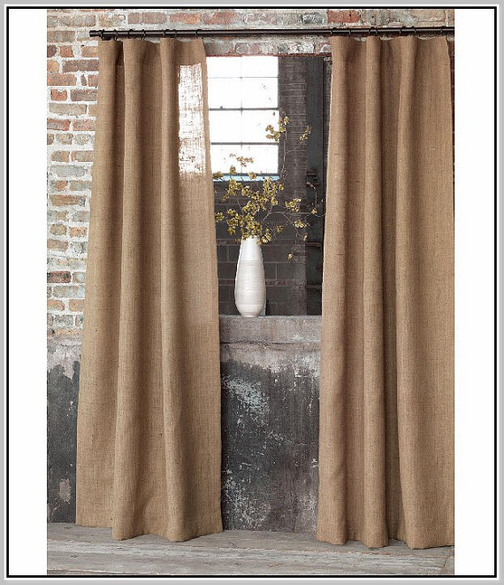 set of 2 natural burlap curtains country farmhouse. Black Bedroom Furniture Sets. Home Design Ideas