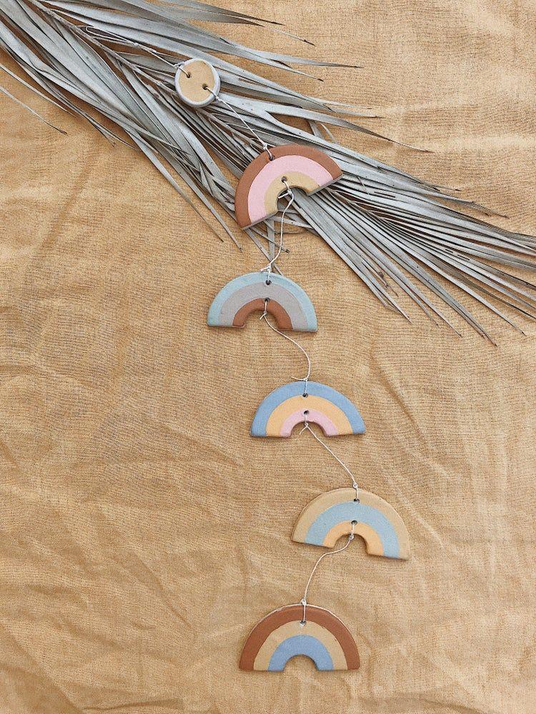 Muted rainbow chain rainbow polymer clay diy