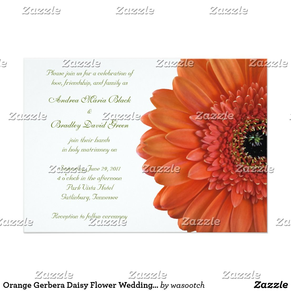 Orange Gerbera Daisy Flower Wedding Invitation | Country Style ...