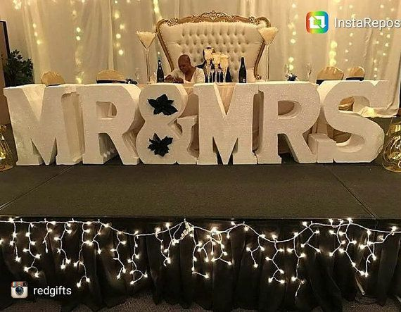 Mr And Mrs Wedding Day Block Letters Foam Leatters Styrofoam Letter Large