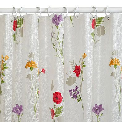 wild flower printed peva shower curtain