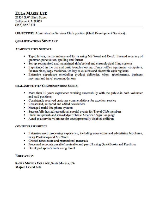 Payroll Clerk Resume Amazing Resume Sample For Administrative Service Clerk  Http .