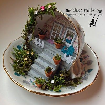 Recycled tea cup scene #recycledcrafts