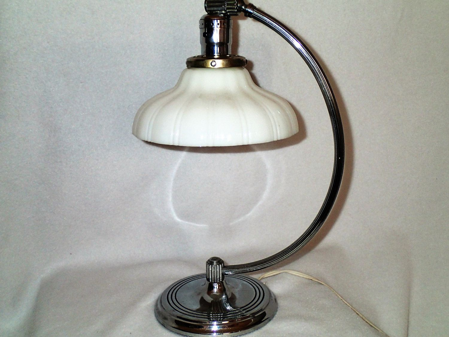 Chase Indusdtrial Age Art Deco Adjustable Chrome Desk Lamp With Ridged Milk Glass Glass Shade Vintage 1930s By Myret Adjustable Desk Lamps Antique Lamps Lamp