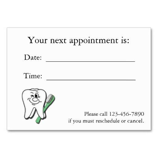 Dental Appointment Card Zazzle Com Dental Business Cards Business Card Template Appointment Cards
