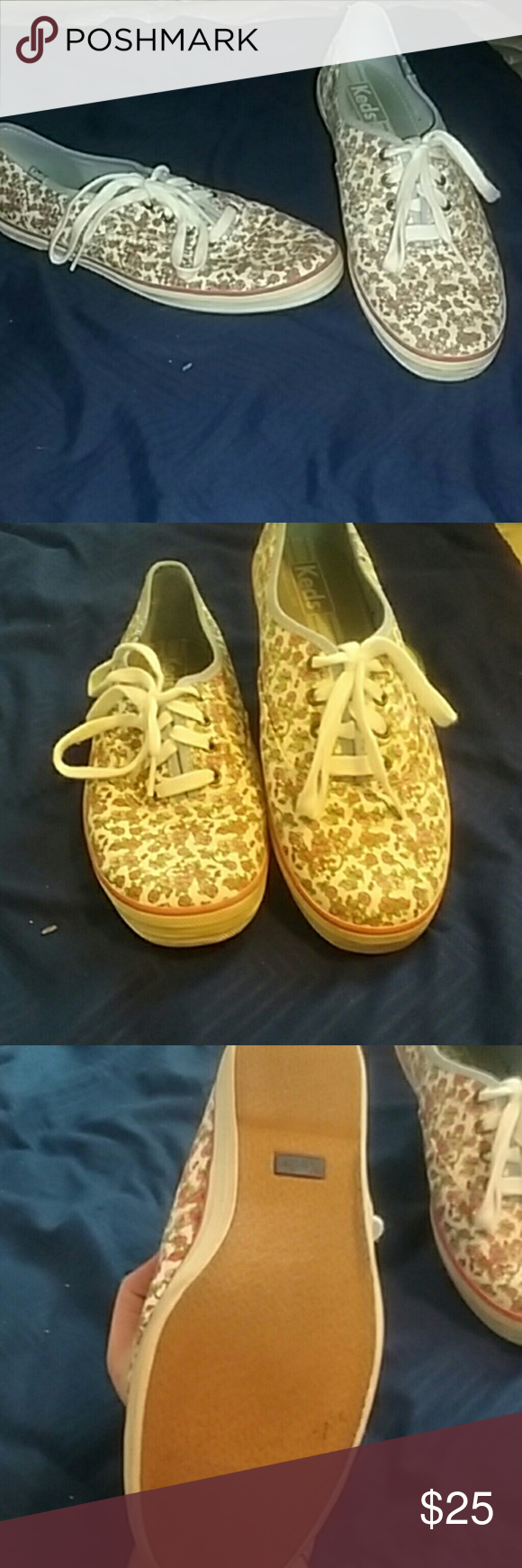 Flower print Keds Like new. A little wear but no stains Rios ortairs or anything noticeable. Very clean..pet and smoke free. Keds Shoes Flats & Loafers