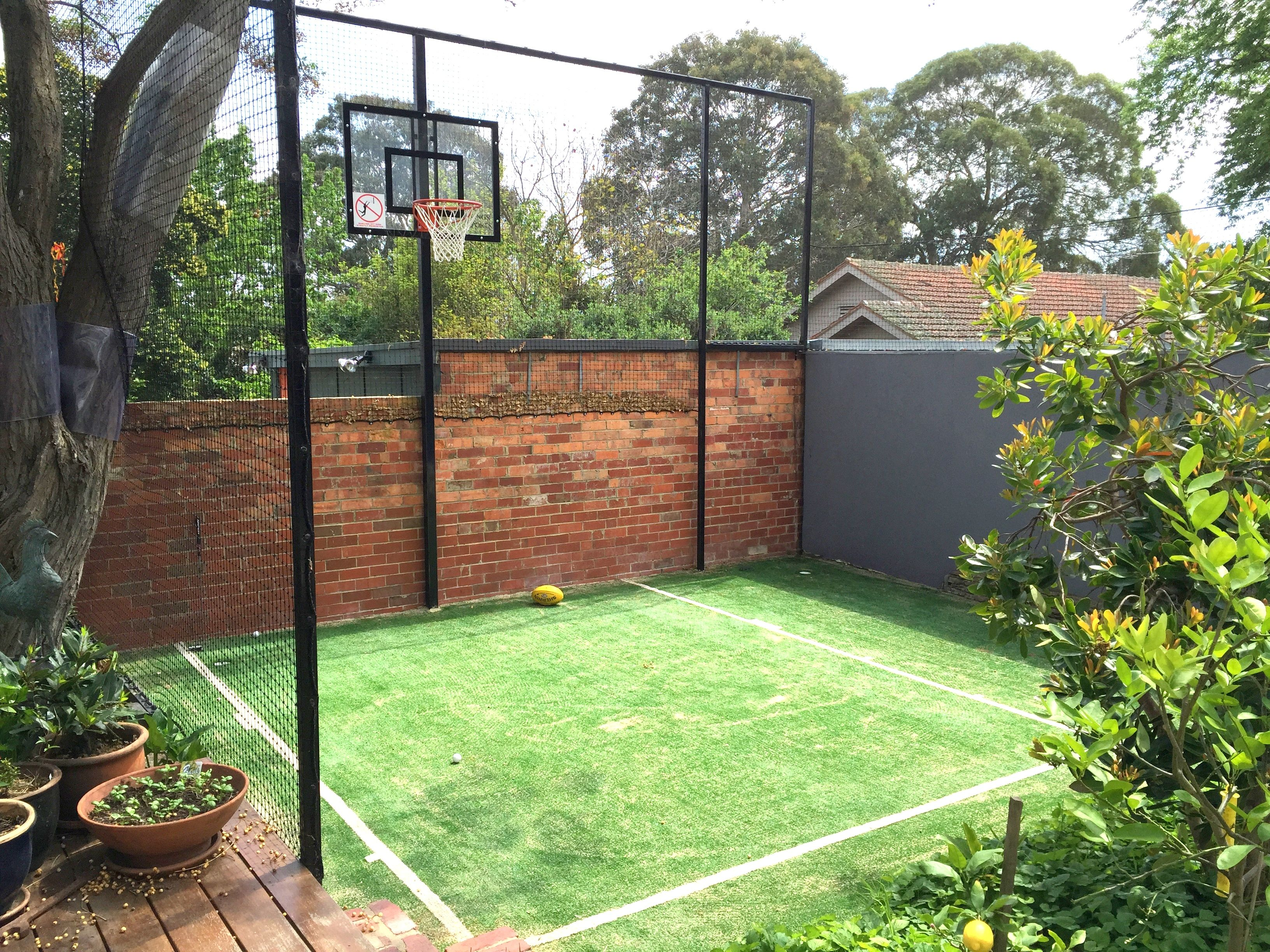 Sport Court Area With Synthetic Grass Basketball Court Backyard Backyard Court Backyard Basketball