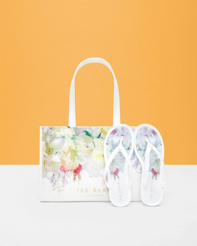 Hanging Gardens Flip Flop And Bag Set White Gifts For Her Ted Baker